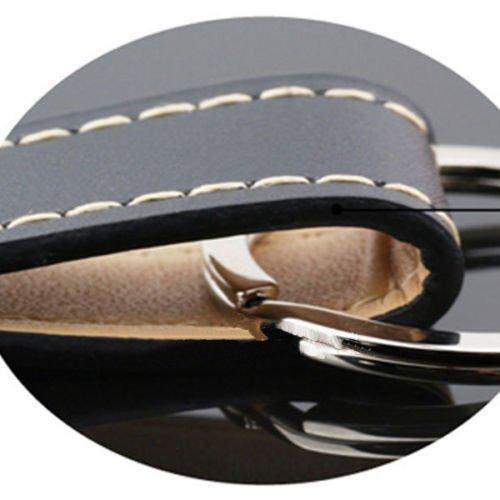 1 Loops Black Leather Strap Keyring Keychain Key Chain Ring Key Fob for men