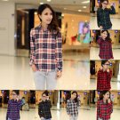 LADY CAMPUS  PLAID CHECK SHIRT LONG SLEEVE FLANNEL BUTTON DOWN BLOUSE TOP 6-14