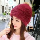 Women 100% Rabbit Fur Hat Lady Knit Handmade Knitted Beanie 22 Color New Style