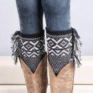 Woman's Crochet Knitted Tassel Trim Boot Cuffs Toppers Leg Warmers Socks Elegant
