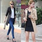 Women Double Breasted Long Trench Coat Slim Windbreaker Jacket Overcoat Outwear