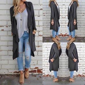 Women Long Sleeve Knitted Cardigan Loose Sweater Outwear Jacket Coat Sweater US