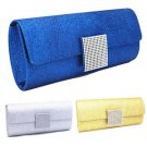 Ladies Diamante Cover Satin Evening Clutch Handbag Women Wedding Prom Purse 2016