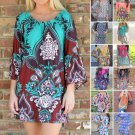 2016 Plus Size Boho Dress Loose Maxi Printed Bohemian Summer Tunic Dress Stylish