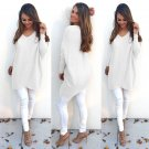 New Fashion Women V-Neck Thin Knit Sweater Pullover Irregular Jumper Knitwear US