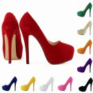 NEW WOMENS CONCEALED PLATFORM LADIES STILETTO HIGH HEELS COURT SHOES elegant New