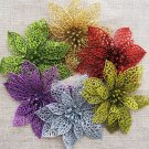 "10pcs 6"" Christmas Flowers Xmas Tree Decorations Glitter Hollow Wedding Party US"