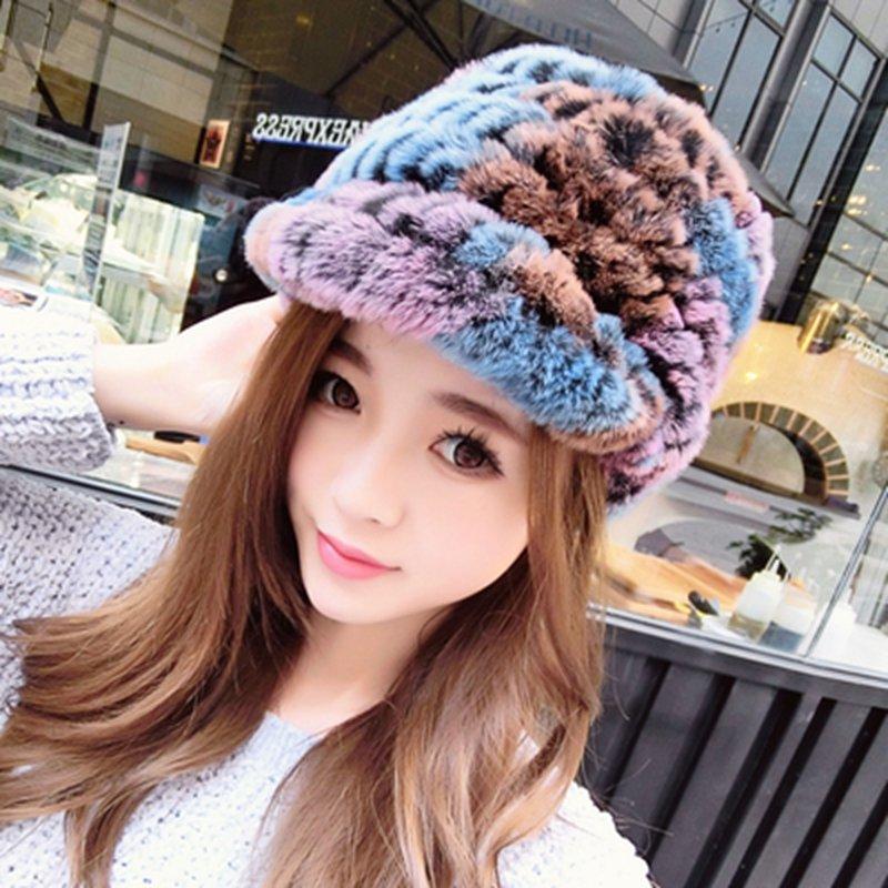 Women's 100% Real Rex Rabbit Fur Hat Cap Knit Handmade Knitted Beanie Winter