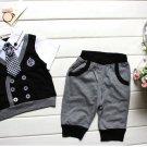 2Y Kids Boy Infant T-shirt Top+Short Pants Outfit Set Clothes Gentleman Durable