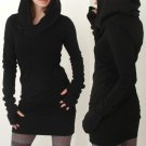 Womens Ladies Hooded Hoody Sweatshirt Long Sleeve Bodycon Hoodies Jumper Dresses