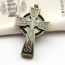 Bronze Gothic Cross Model Necklace Pendant Chain Pocket Watch Men Women Unisex