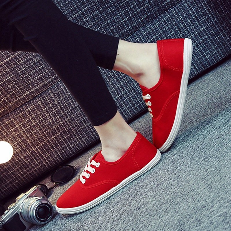 Womens Girls Classic Casual Canvas Plimsoll Shoes Sneakers lace Up Sizes Plain