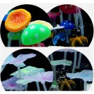 Aquarium fish tank decoration ornament soft fluorescence colors mushroom Leaf