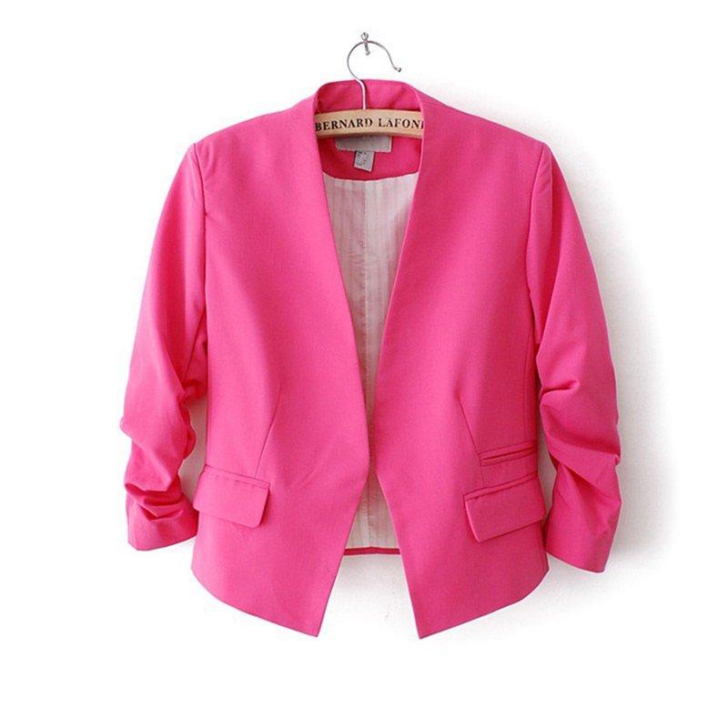 Fashion Women Korea Candy Color Solid Slim Suit Blazer Coat Jacket SWEET Spring