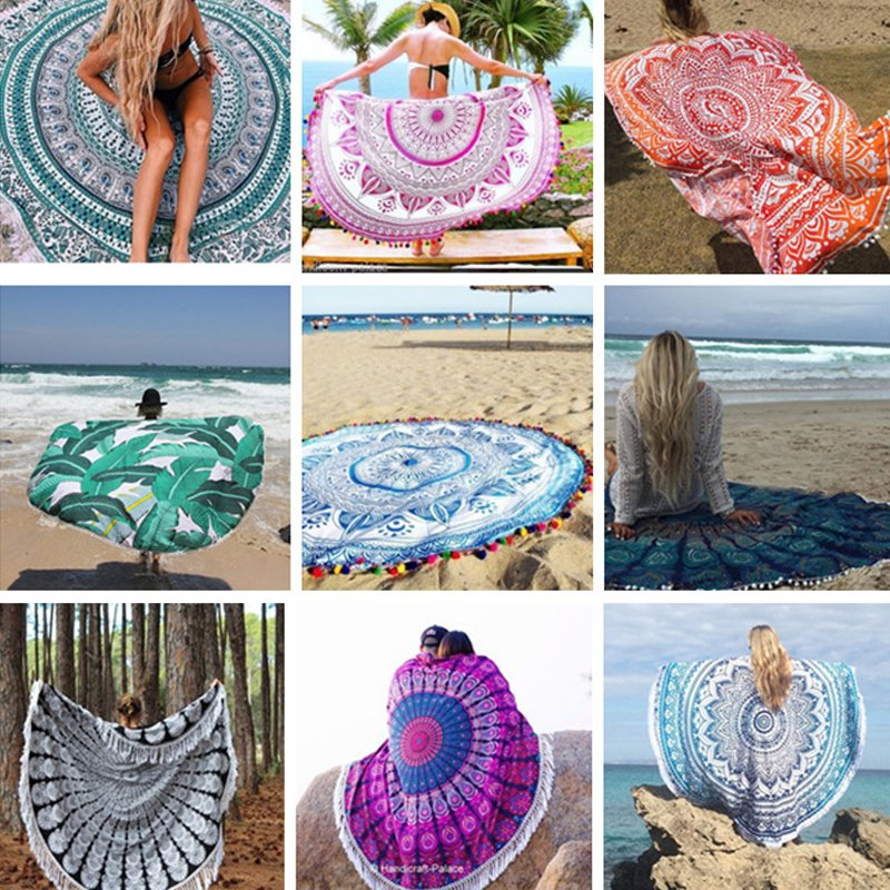 Bohemian Mandala Beach Round Tapestry Hippie Throw Roundie Yoga Mat Towel Vogue