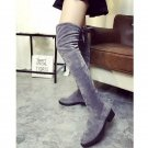 2016 Women Faux Suede Over Knee High Boots Lace Up Stretchy Long Thigh Boot Shoe