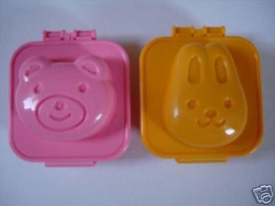 Set of 2 Bento Egg Molds, Bear and Bunny Design