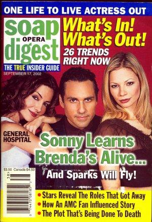 Soap Opera Digest magazine  9 17 2002 Maurice Benard Tamara Braun