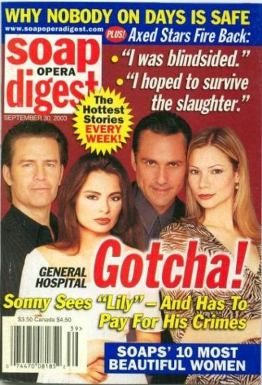 Soap Opera Digest Magazine 9 30 2003 Ted King Lilly Melgar GH