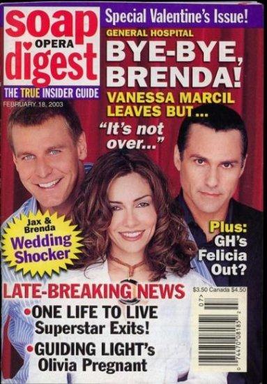 Soap Opera Digest 2 18 2003 Ingo Rademacher Vanessa magazine