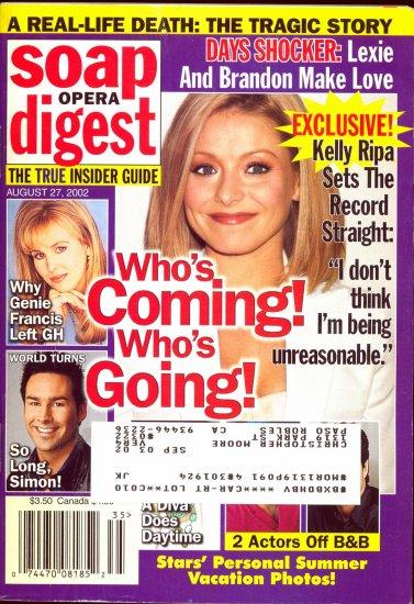 Soap Opera Digest 8 27 2002 Kelly Ripa Genie Frances Magazine