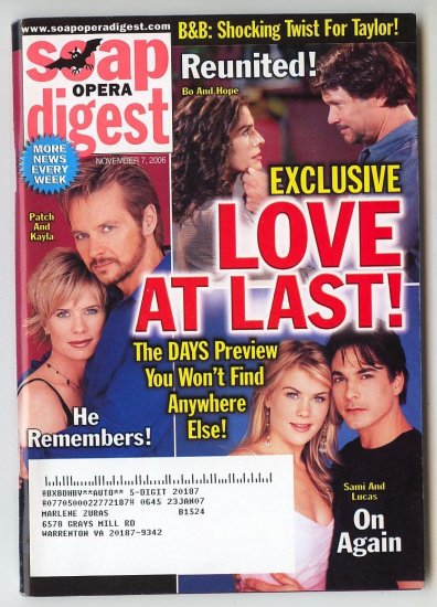 Soap Opera Digest Nov 7 2006 Love at Last Digests 11 72006