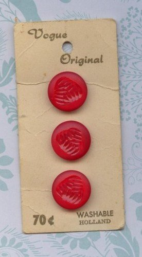 Vintage Vogue three Red Buttons Old New Store Stock