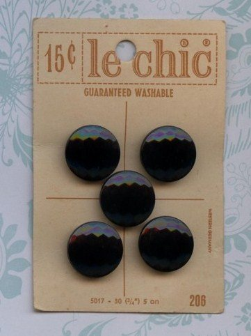 Vintage Old New Store Stock Black Buttons