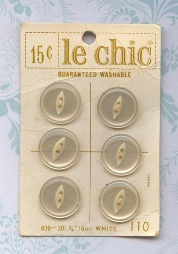 Vintage Old New Store Stock  White Buttons