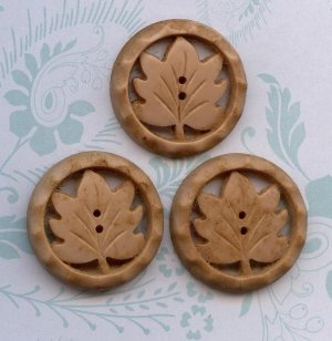Vintage Three Wood like Plastic Leaf Leaves Button Buttons