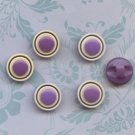 6 Vintage Purple and White Buttons Button