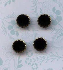 4 Vintage Black and Gold buttons Plastic button