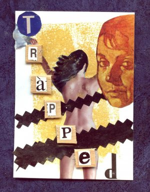 ACEO Card Trapped Collage Art Card