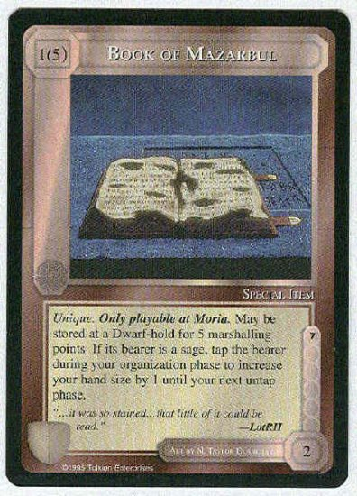 Middle Earth Book Of Mazarbul Uncommon Game Card