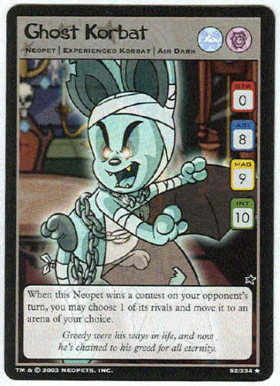 Neopets #52 Ghost Korbat Rare Game Card Unplayed