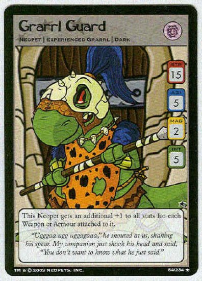 Neopets CCG Base Set #54 Grarrl Guard Rare Game Card