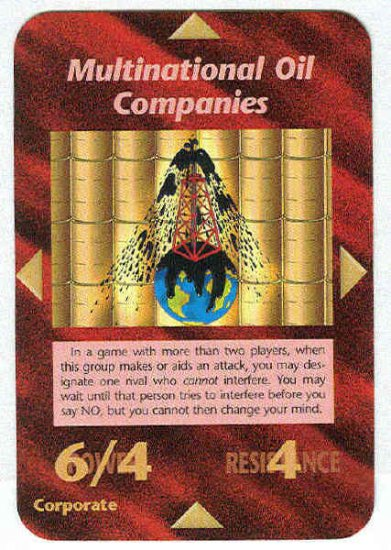 Illuminati Multinational Oil Companies NWO Game Card