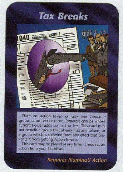 Illuminati Tax Breaks New World Order Game Trading Card