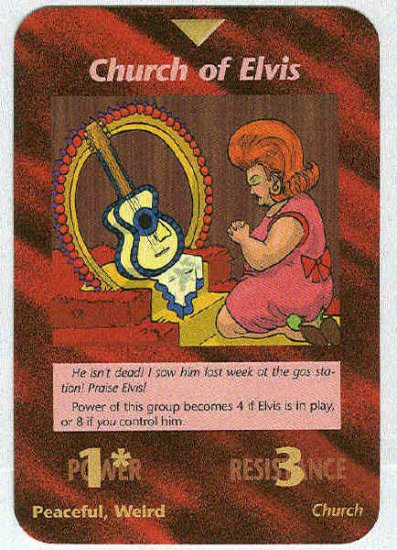 Illuminati Church Of Elvis New World Order Game Trading Card