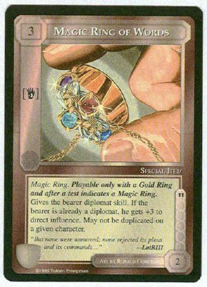 Middle Earth Magic Ring Of Words Uncommon Game Card