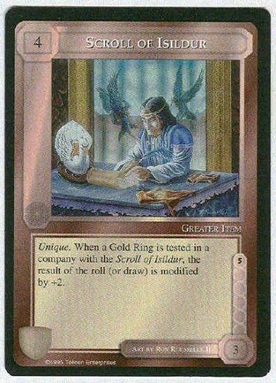 Middle Earth Scroll Of Isildur Wizards Uncommon Game Card