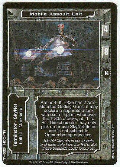 Terminator CCG Mobile Assault Unit Uncommon Game Card
