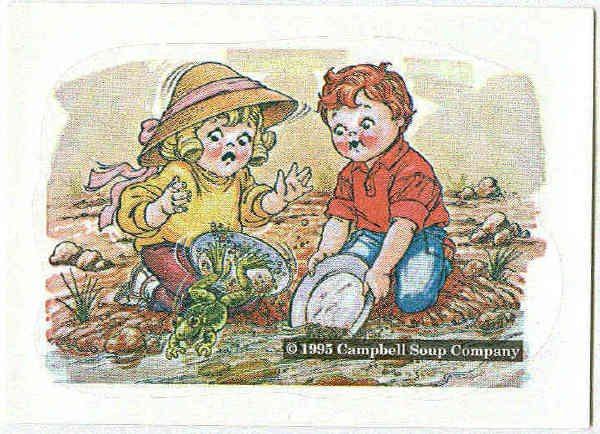 Campbell's 1995 Collection Sticker Card Kids Paning For Gold