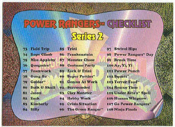 Power Rangers Series 2 #144 Power Foil Card Checklist