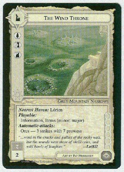 Middle Earth The Wind Throne Wizards Fixed Game Card