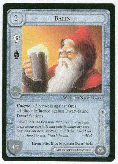 Middle Earth Balin Wizards Limited Uncommon Game Card