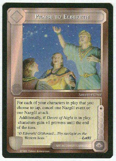 Middle Earth Praise To Elbereth Uncommon Game Card