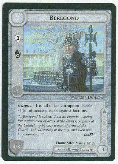Middle Earth Beregond Wizards Limited Black Border Fixed Game Card