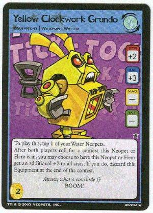 Neopets CCG Base Set #95 Yellow Clockwork Grundo Rare