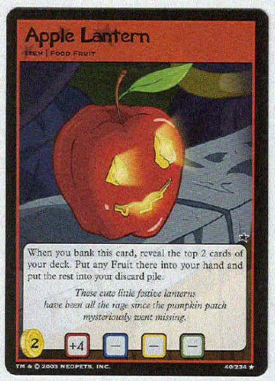 Neopets CCG Base Set #40 Apple Lantern Rare Game Card